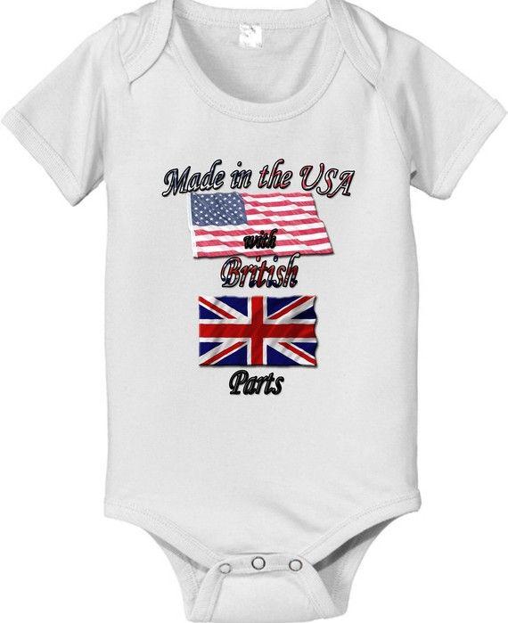 50/% British 50/% American 100/% Awesome UK United Kingdom Flag Funny Baby Onesie