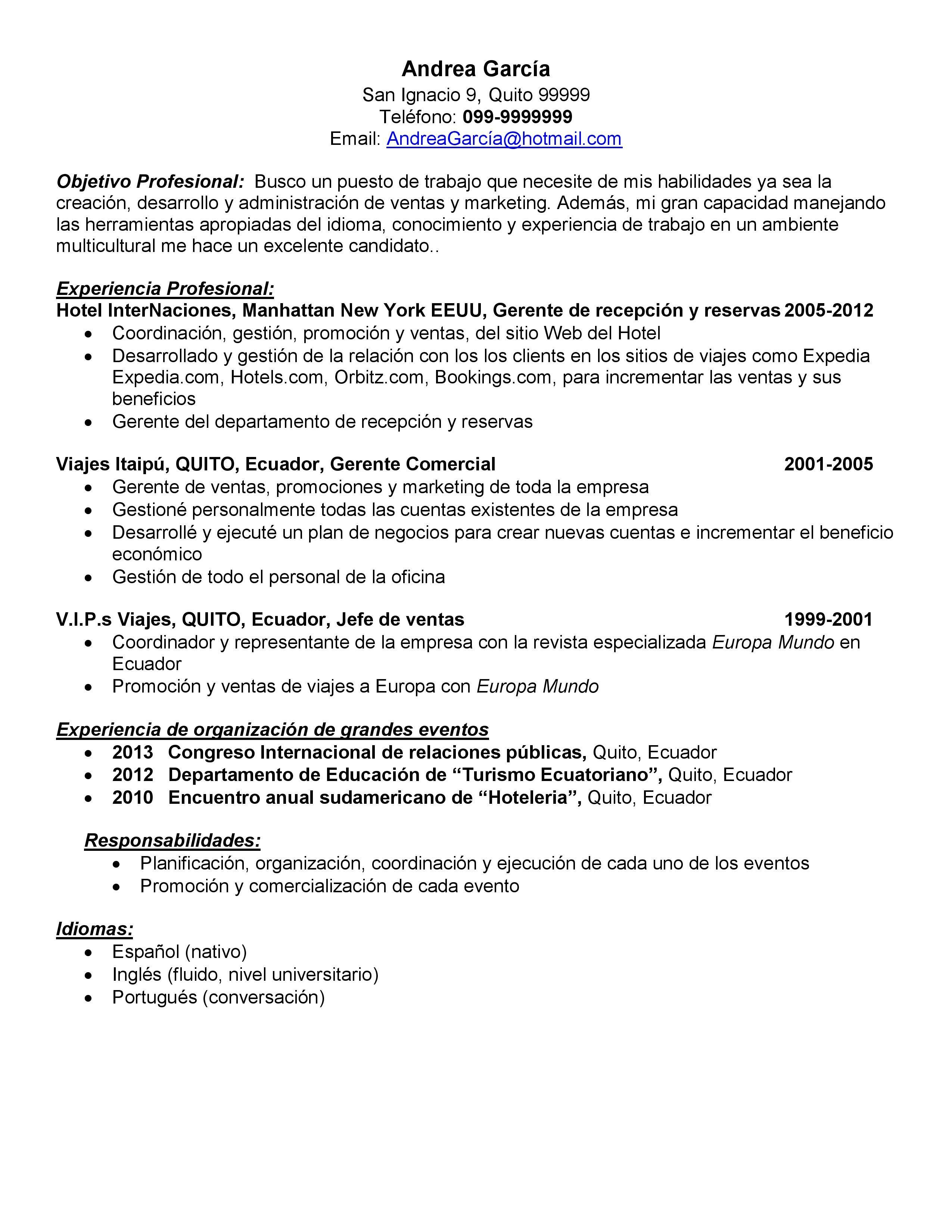 Demo De Curriculum Vitae Para Promotor De Ventas Cv