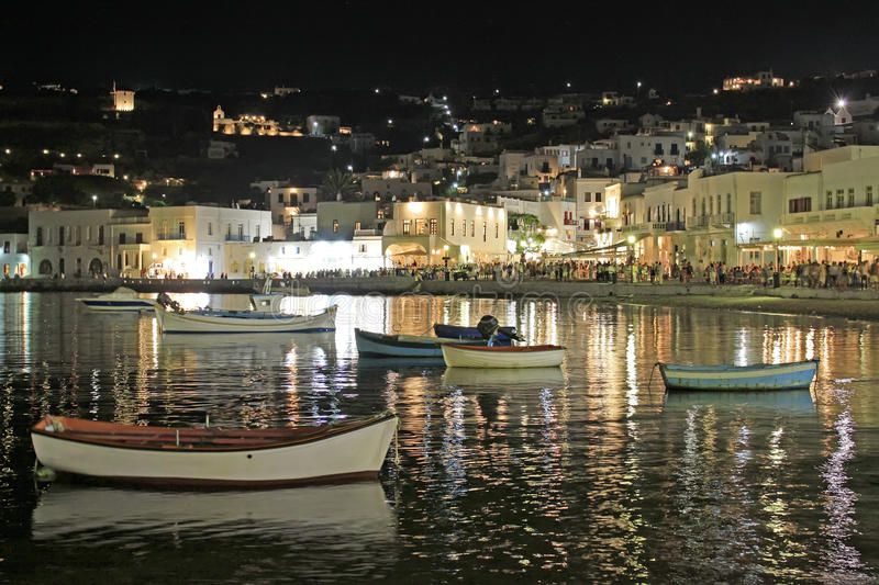 Mykonos Old Port at Night A view of the busy summer old port of Mykonos island