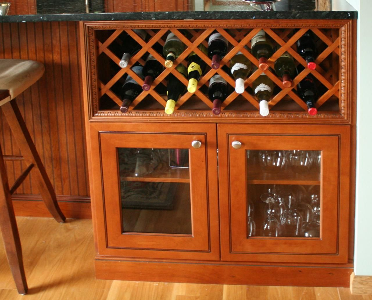 Kitchen Display Cabinet Wine Rack Over Glass Cabinet At Back Of Peninsula