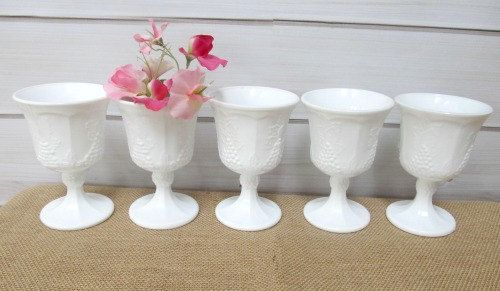 White Milkglass Fenton Hobnail Water Glass Goblet Flower Vase Candle Holder Wedding Decor on Etsy, $5.99
