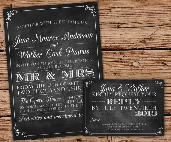 Vintage Chalkboard Wedding Invitation by JulsNewbrough on Etsy
