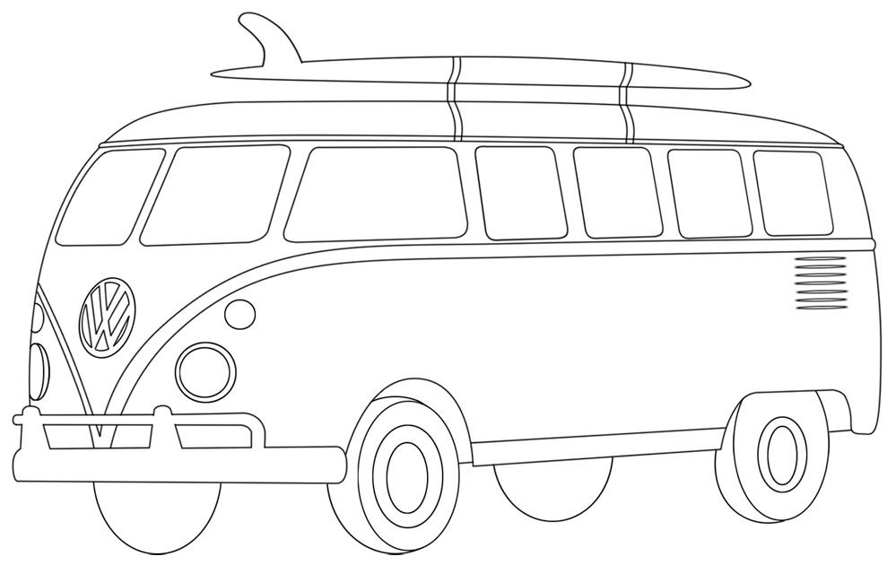 VW Van Colouring Page