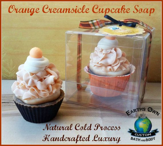 Check out this item in my Etsy shop https://www.etsy.com/listing/489759193/orange-creamsicle-cupcake-soap-natural
