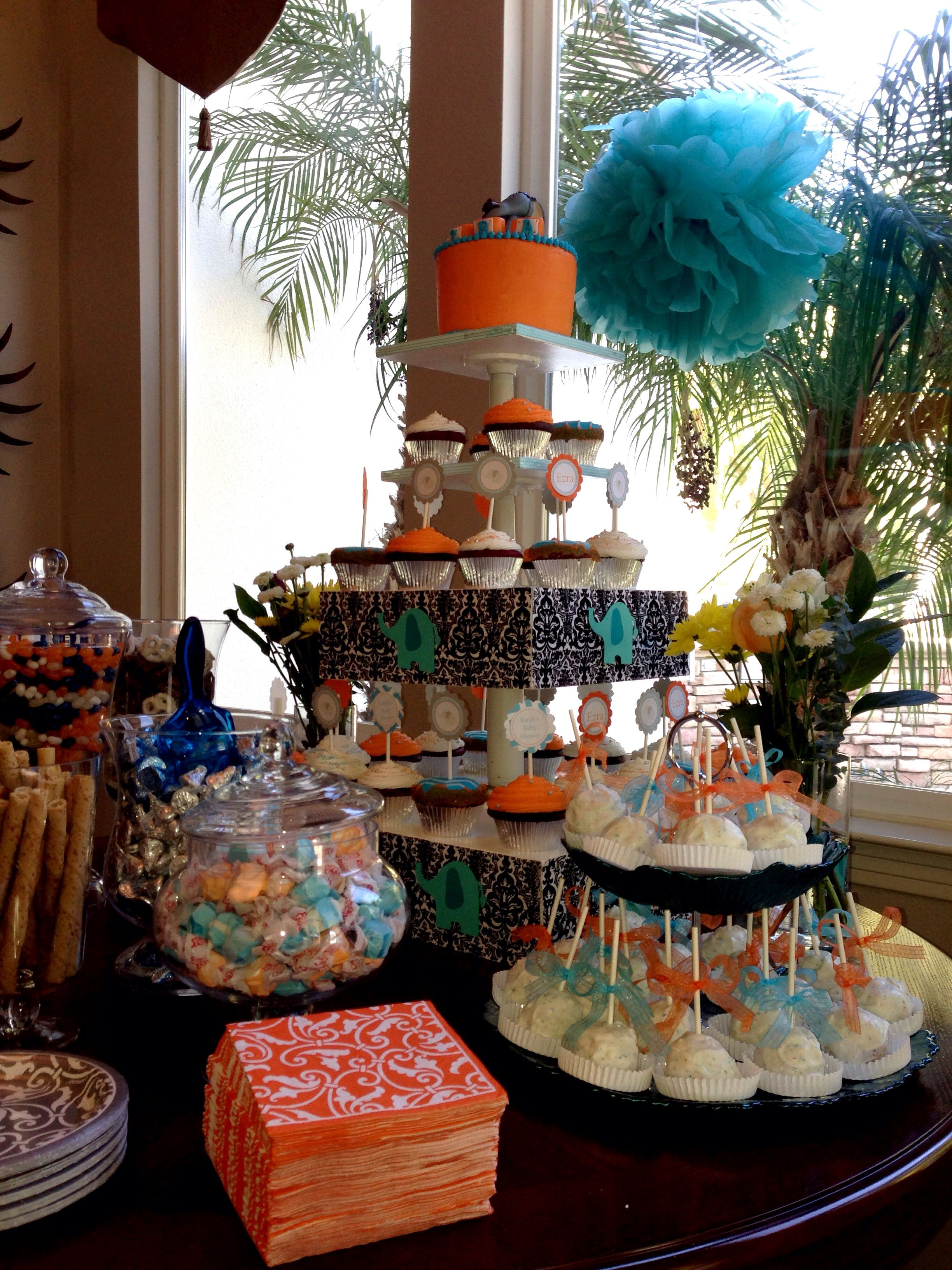 Orange Teal Amp Elephant Themed Baby Shower Sweets Table