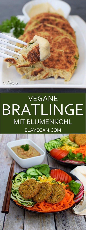 Vegane Bratlinge mit Blumenkohl | einfaches Rezept - Elavegan