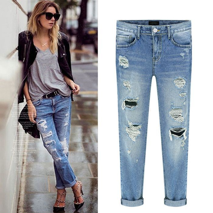 55eaaa2af9b Classic wash ripped boyfriend jeans. Featuring back pocket and front  distressed details along with front