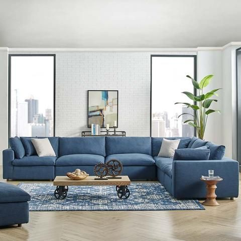 Commix Down Filled Plush Overstuffed 6 Piece Sectional Sofa Set Sectional Sofas Living Room Blue Sofas Living Room Living Room Sofa Design