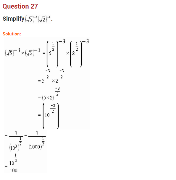 Exponents and Powers NCERT extra questions for class-8