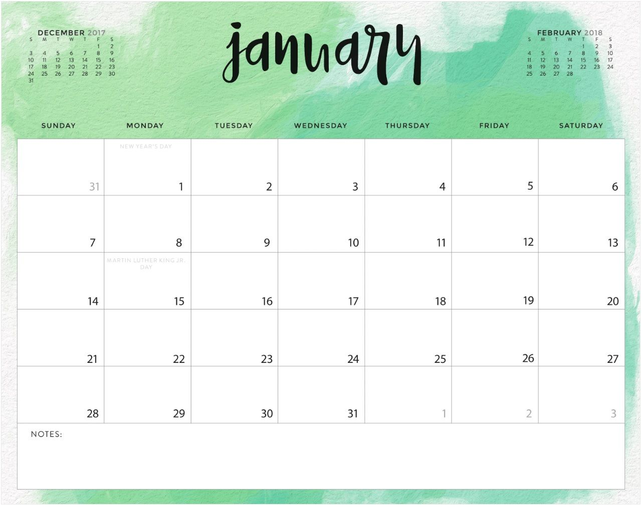 Color Pattern January Printable Calendar
