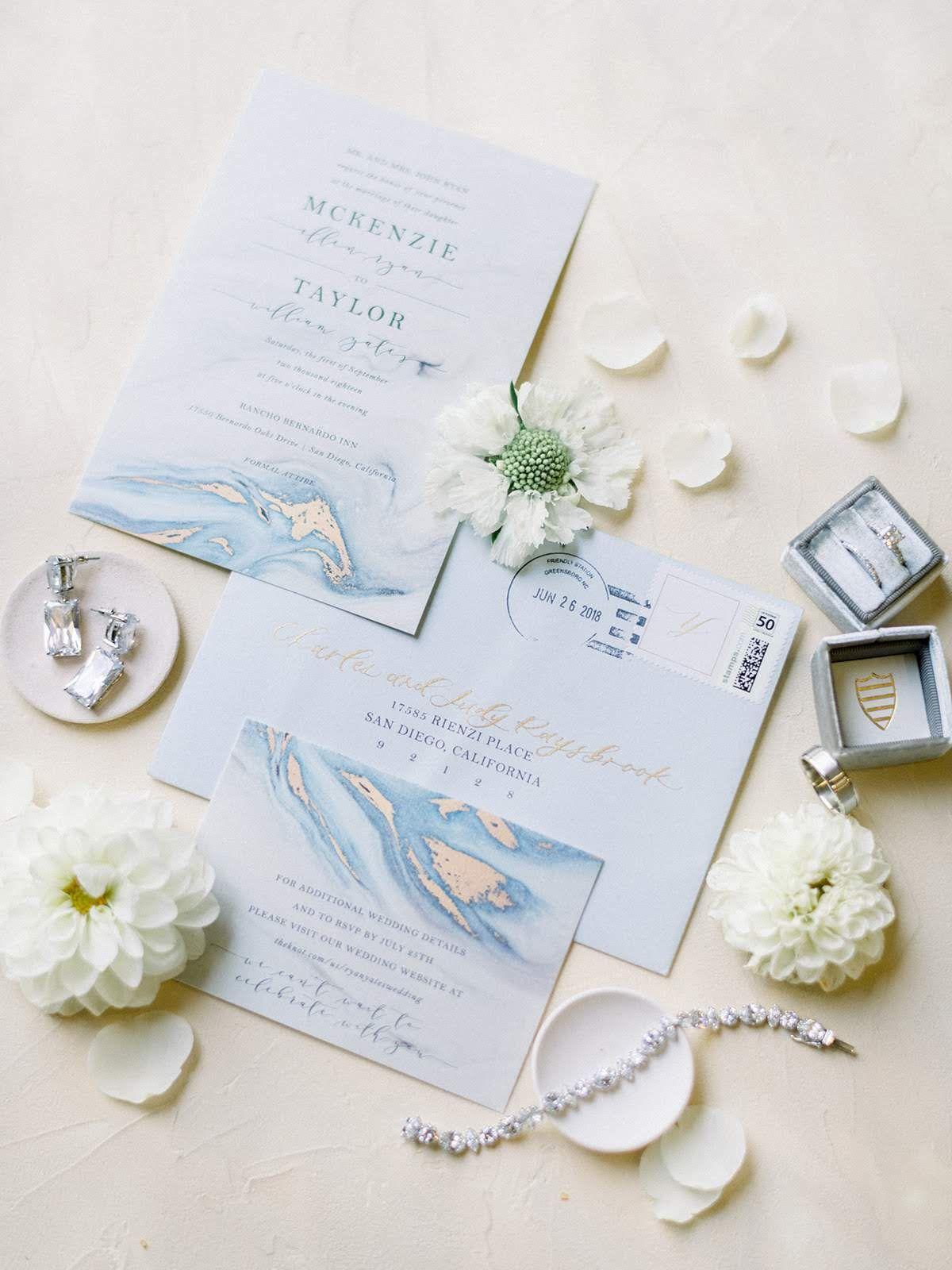 Dusty Blue Wedding Invitations Wedding Invites Marble Wedding Invitations Blue Marble Wedding Marble Invitation Wedding Marble Wedding Blue Gold Invitations