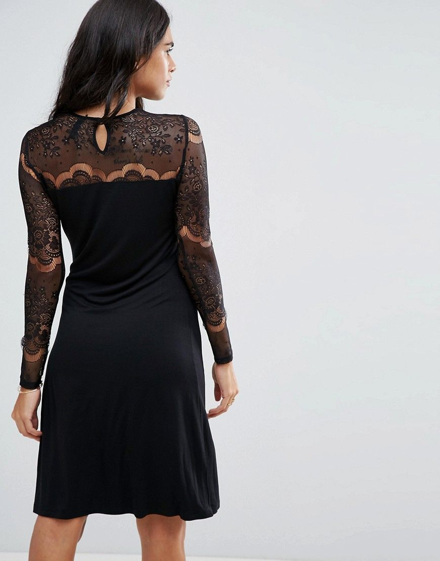 Yas ciccu long lace sleeved shift dress black products