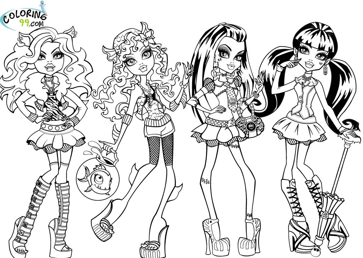 monster high mattel coloring pages there are many character in