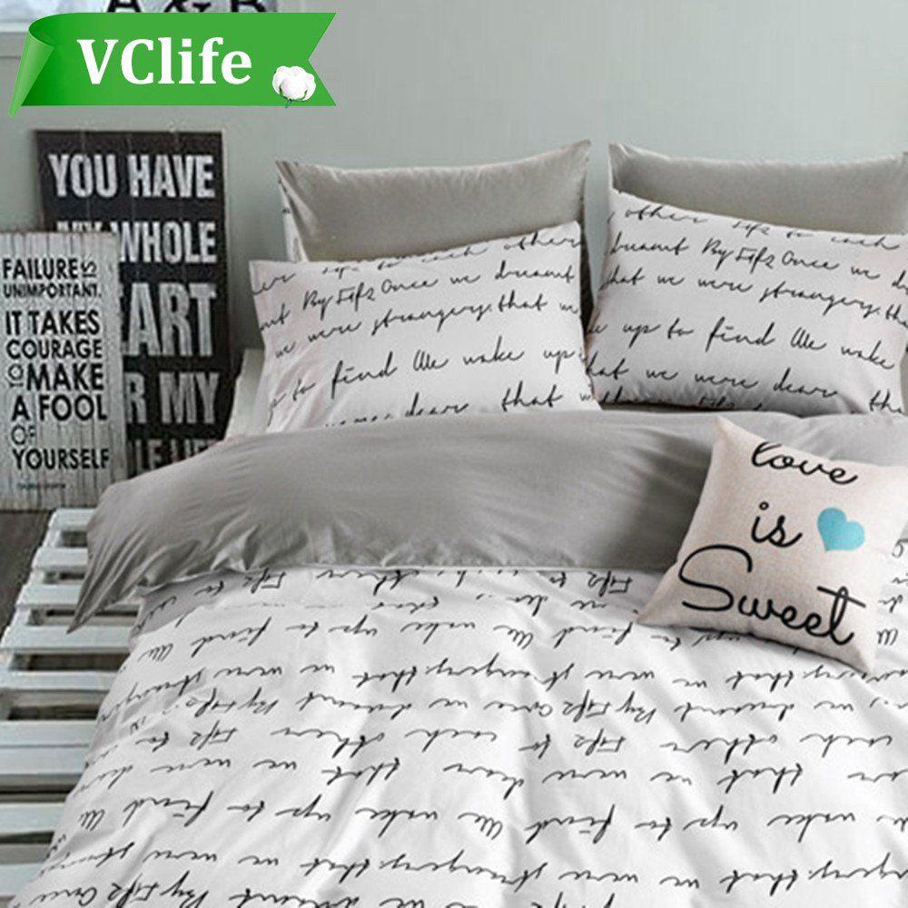 Vclife Grey White Bedding Sets Cotton Queen Duvet Cover 90 X Letter Print