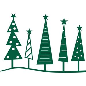 Sketched Flower Square Christmas Tree Silhouette Christmas Tree Stencil Christmas Tree Clipart