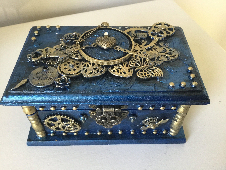 Blue cigar box jewelry box