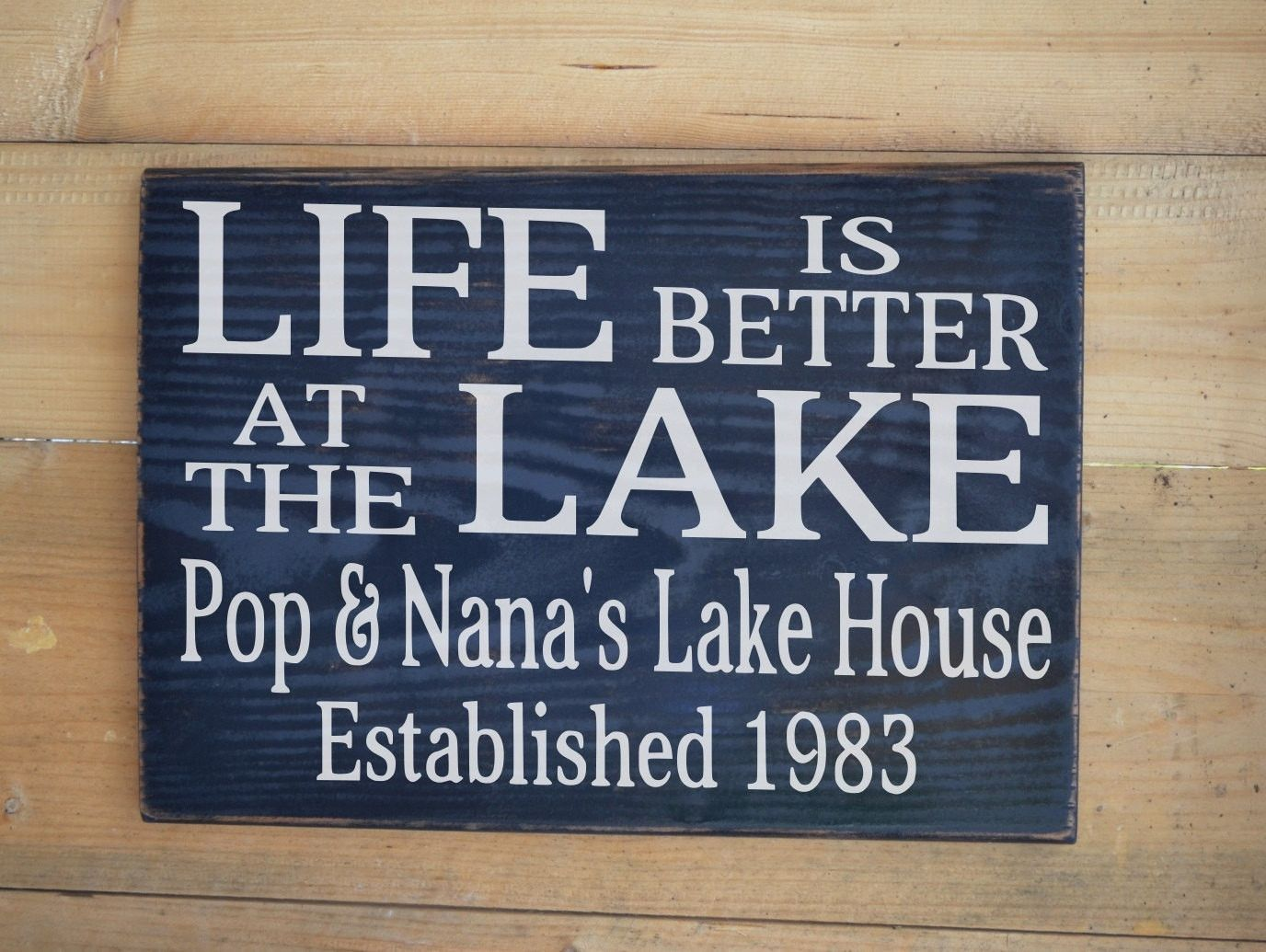 Welcome To The Lake Signs Decor Prepossessing Lake House Decor Personalized Life Is Better At The Lake Painted Design Inspiration