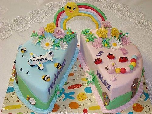 Fantastic Boy Girl Twin Party Ideas Twins Boy Girl Cake Twins Cake Funny Birthday Cards Online Unhofree Goldxyz