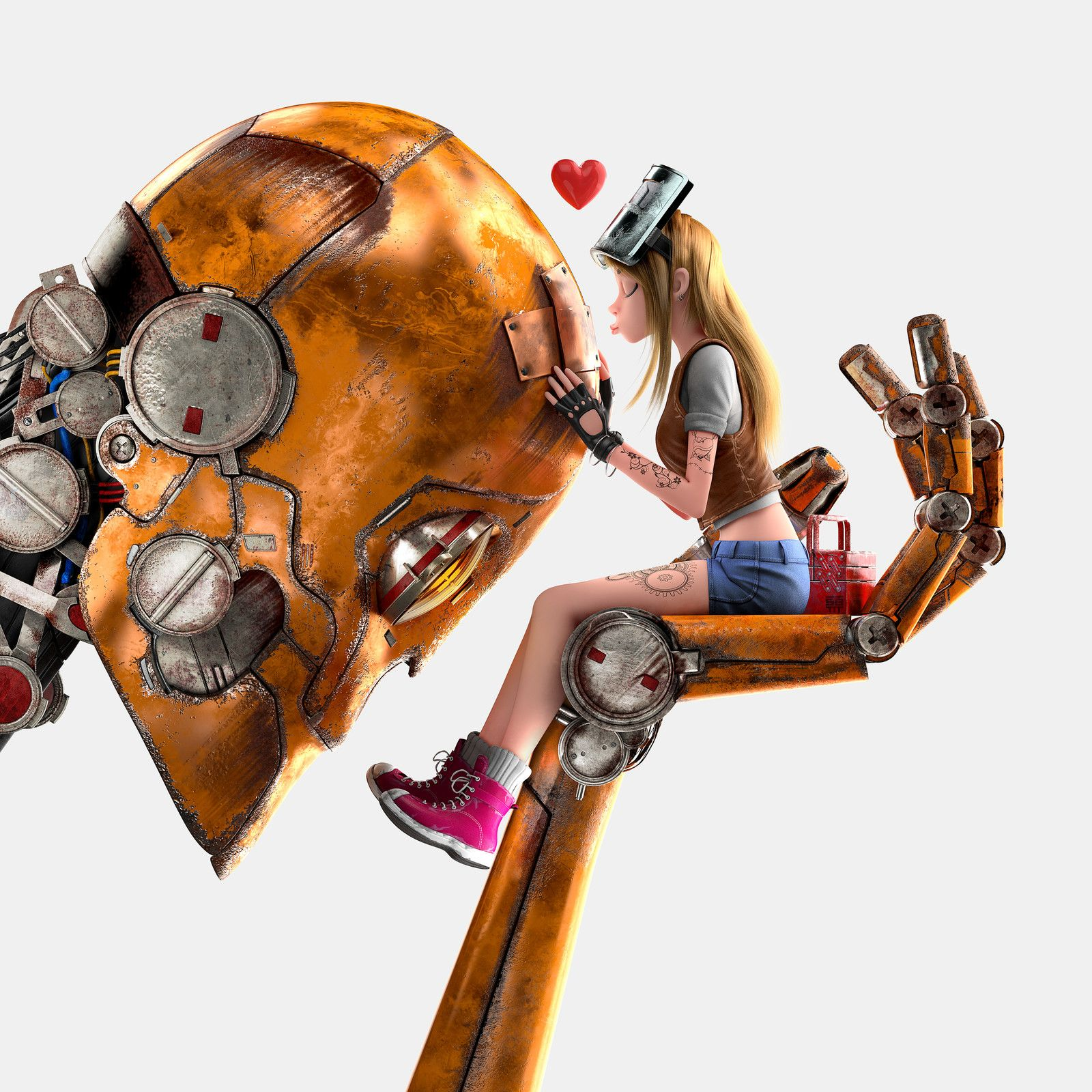 Girl and Robot, Michael Santin on ArtStation at https://www.artstation.com/artwork/o1Bvq