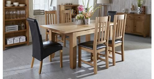 Parker Extending Dining Table & Set of 4 Slat Back Chairs Parker Oak ...