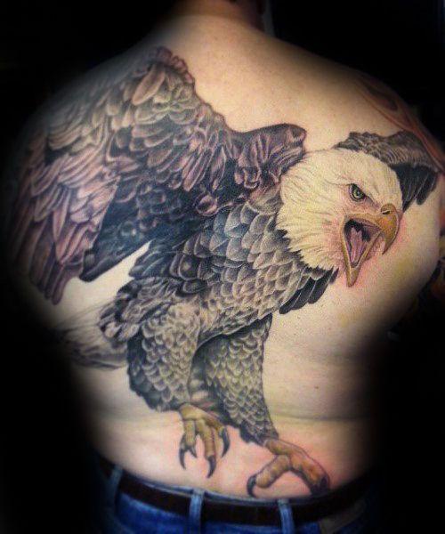 b8625b6f5f175 Mens Flying Realistic 3d Bald Eagle Tattoo Design On Back | tattoo I ...