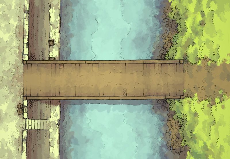 The East Bridge, a battle map for D&D / Dungeons & Dragons, Pathfinder, Warhammer and other table top RPGs. Tags: road, highway, city, town, settlement, river, canal, waterway, dock, encounter