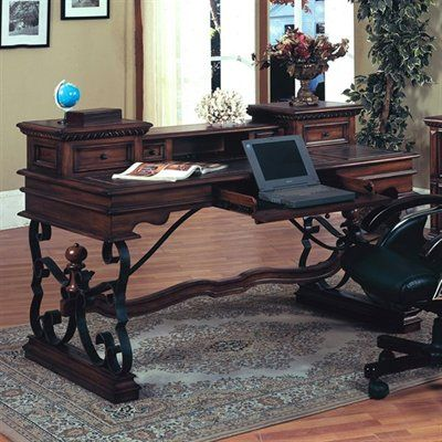 Parker House BAR#485 Barcelona Writing Desk, Dark Red Walnut