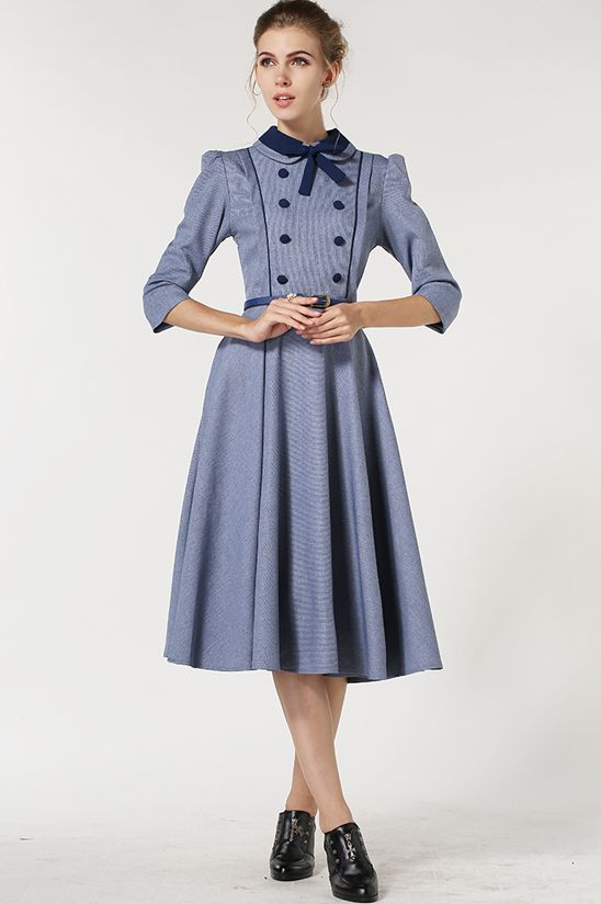 Blue Lapel Vintage Bow Buttons Dress 24 17   Fashionably Feminine     Blue Lapel Vintage Bow Buttons Dress 24 17