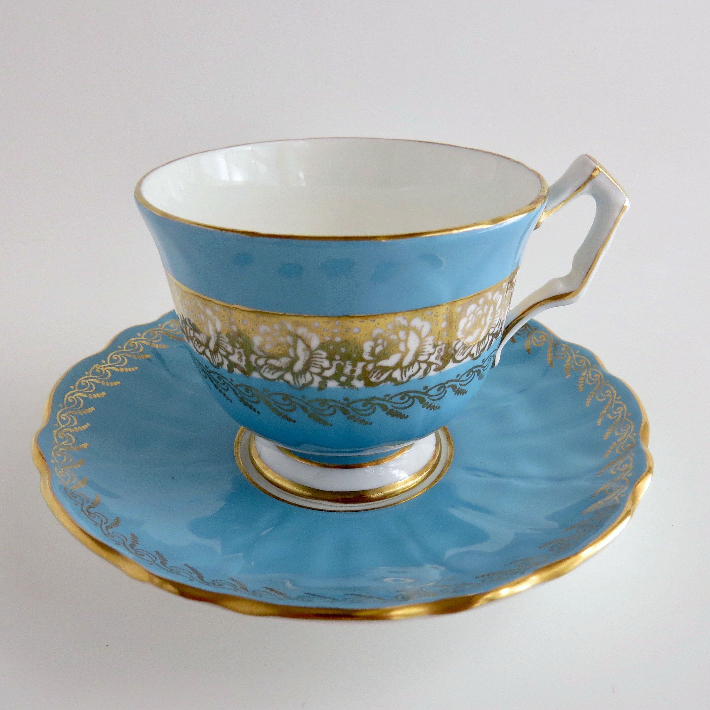 Aynsley Blue and Gold Tea Cup and Saucer Set, Crocus Shape, Pattern 2932, Vintage Fine English Bone China #teacups