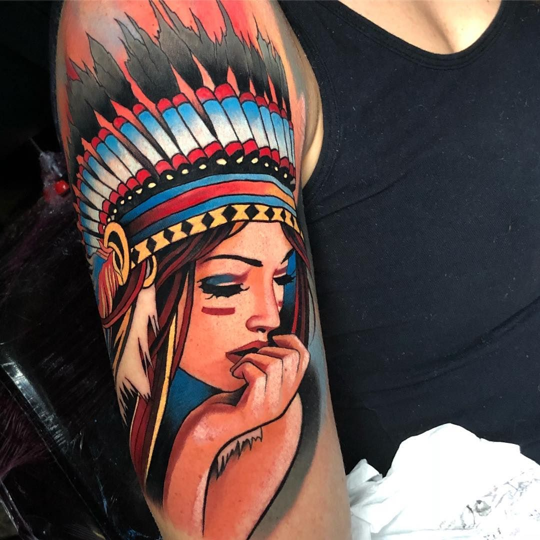 Indian Woman Tattoo By Bullet Bg Indian Tattoo Tattoos Colour Tattoo For Women