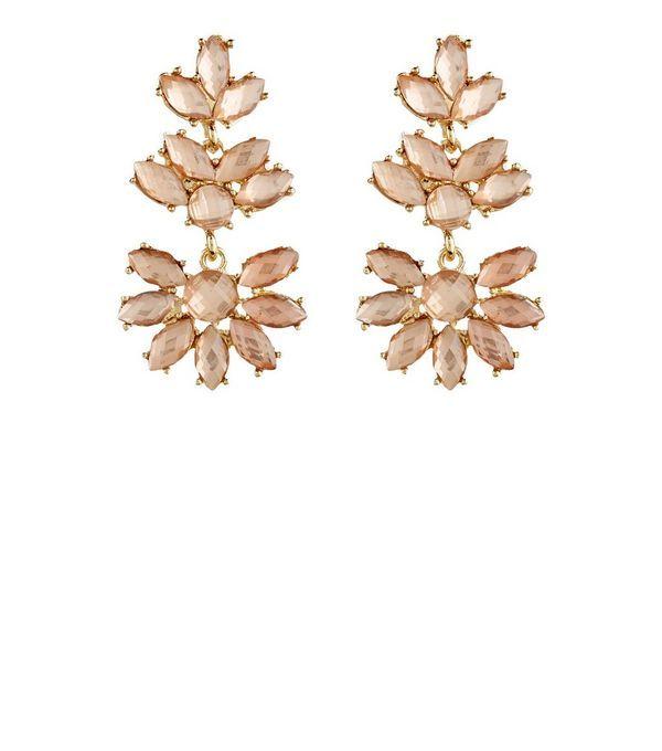 Rose Gold Flower Chandelier Earrings