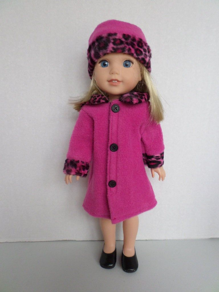 Leopard Jacket with Hoodie for 14 in Wellie Wishers American Girl Doll Clothes