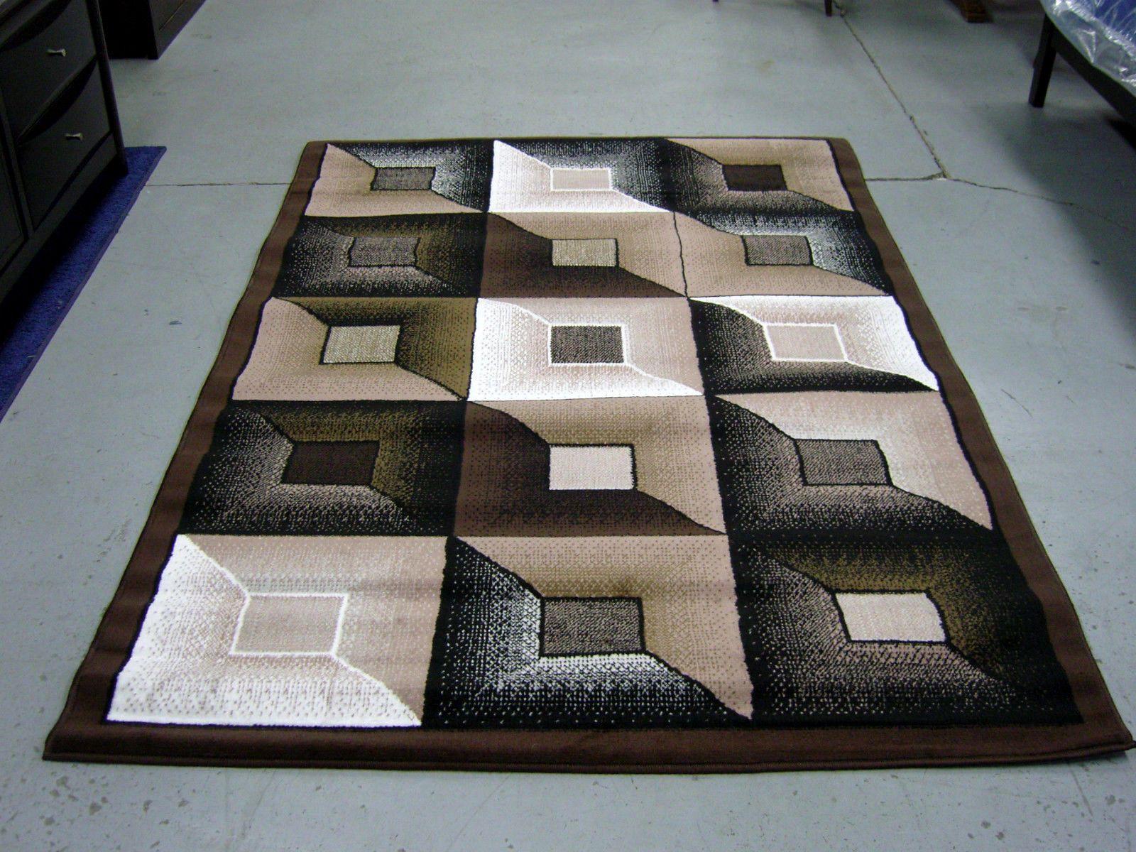 Contemporary Geometric 5x8 Brown Beige White Black Area Rug Modern Carpet Modern Area Rugs Modern Carpet Area Rugs