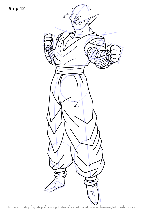 Learn How To Draw Piccolo From Dragon Ball Z Dragon Ball Z Step By Step Drawing Tutorials Dragon Ball Z Dragon Ball Dbz Drawings