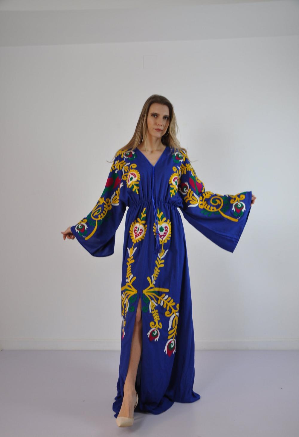 Vibrant Blue Summer Kaftan Embroidered Kaftan Dress African Etsy Bohemian Maxi Dress Maxi Kaftan Kaftan Dress [ 1462 x 1000 Pixel ]