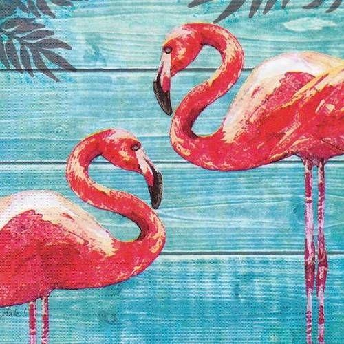 4x serviettes en papier pour découpage DECOPATCH Craft Tropical Flamant