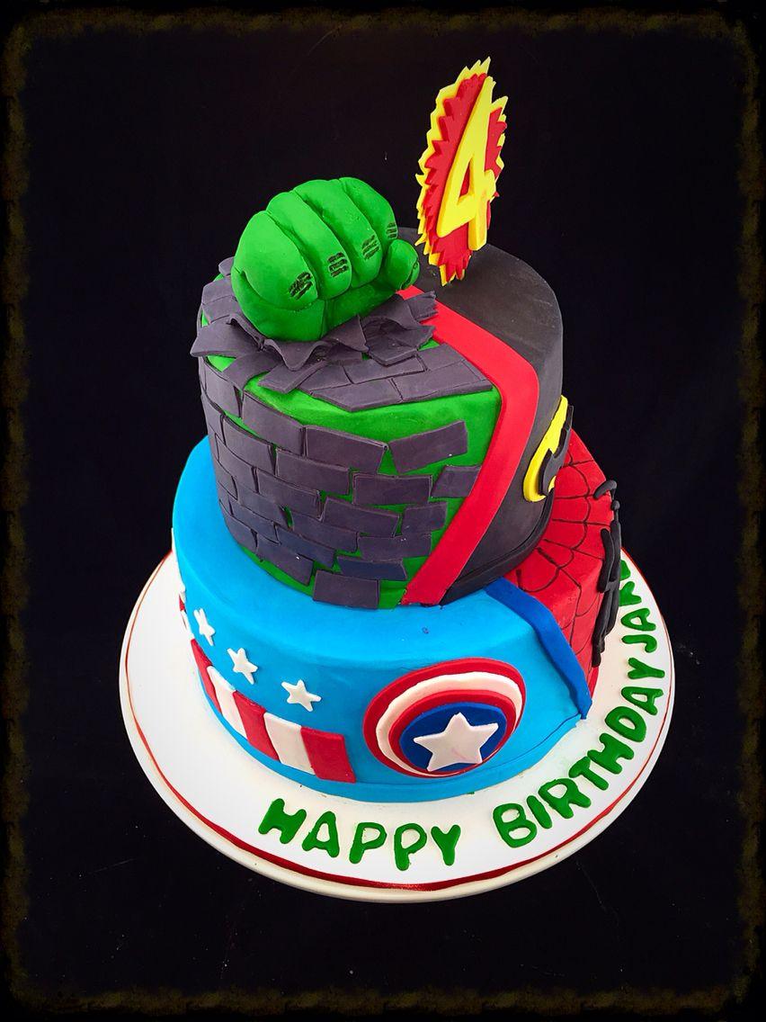 Super Hero 4th Birthday Cake Incredible Hulk Captain America