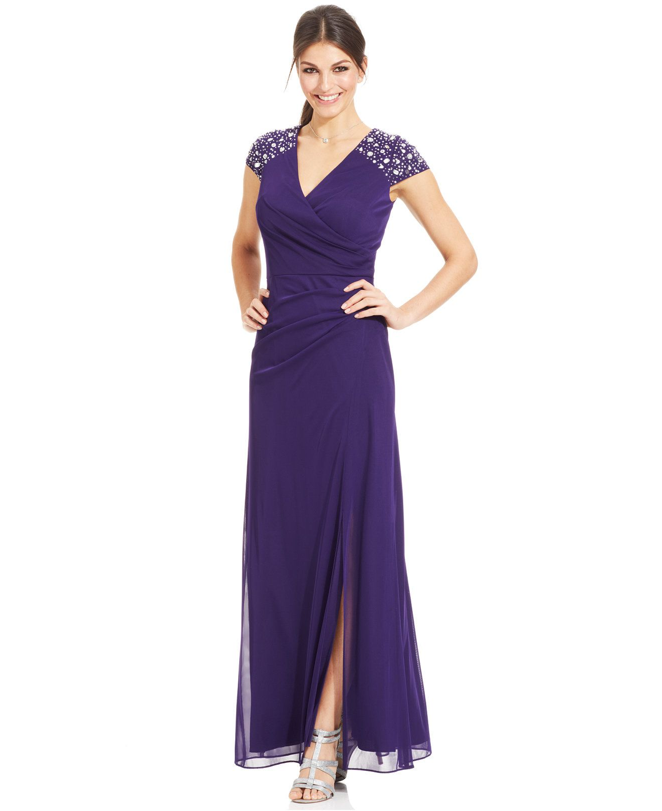 Alex Evenings Cap-Sleeve Embellished Side-Slit Gown - Dresses ...