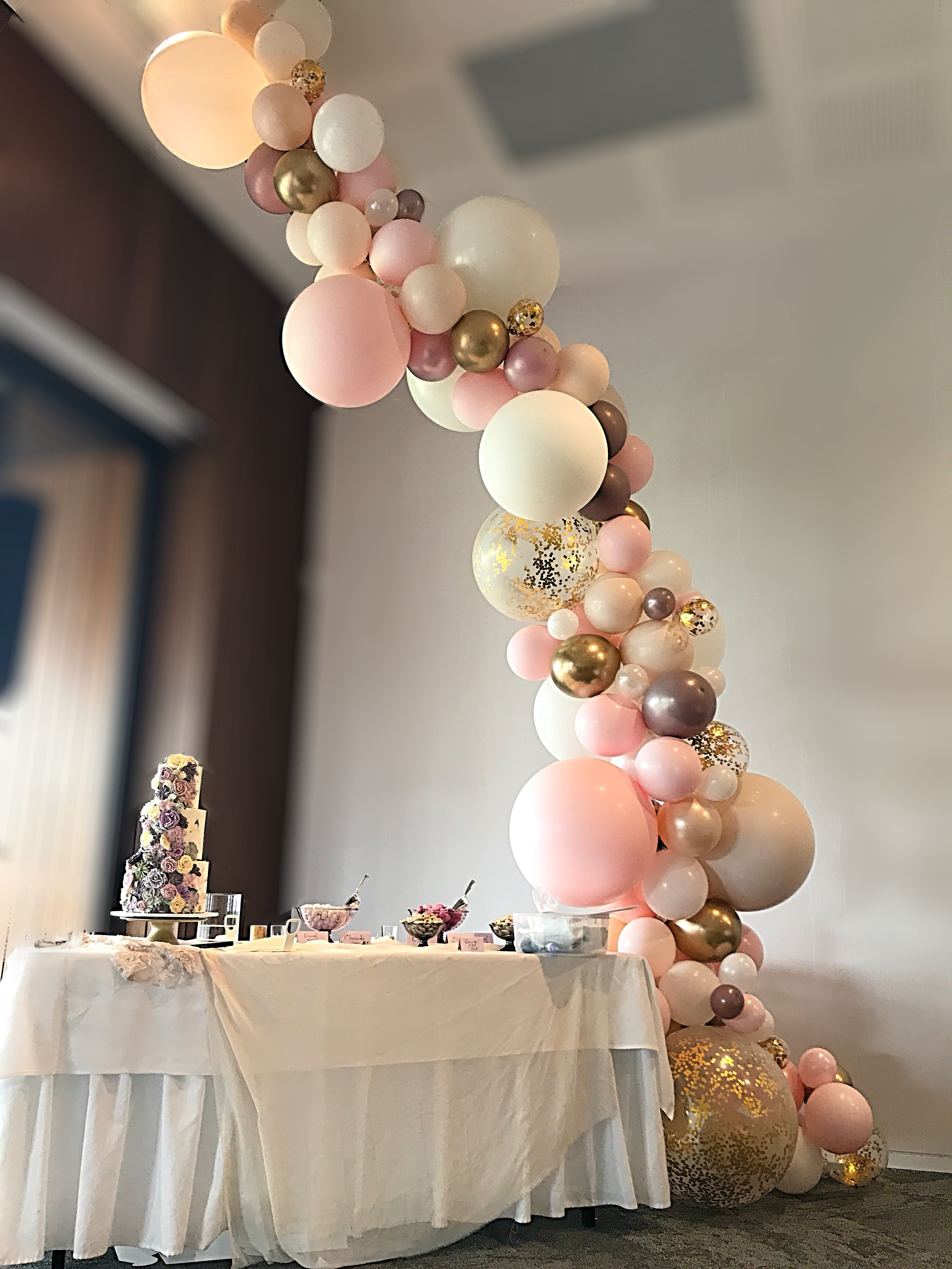 blush gold confetti and mauve wedding balloon garland. Black Bedroom Furniture Sets. Home Design Ideas