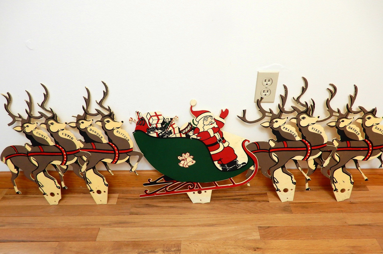 Santa And Reindeer Large Vintage Christmas Decor Flat