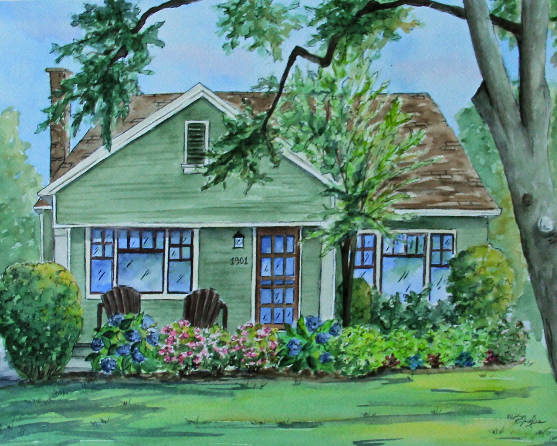 Custom House Painting Portrait Watercolor Of Home Ilration Robin Ingles