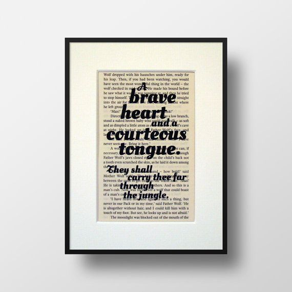 Jungle Book Book Quote Print Inspirational By Noodlebookart