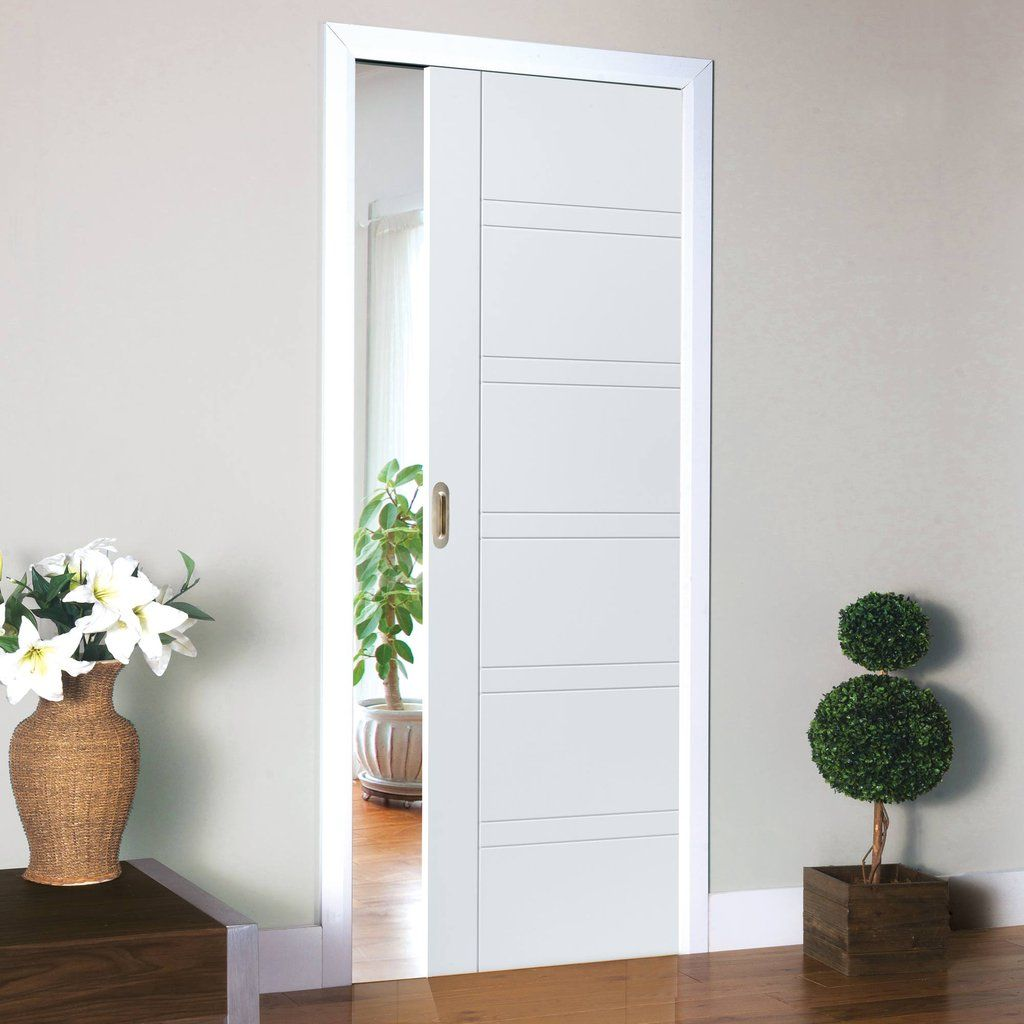 Single Pocket Imperial White Sliding Door System In Three Size