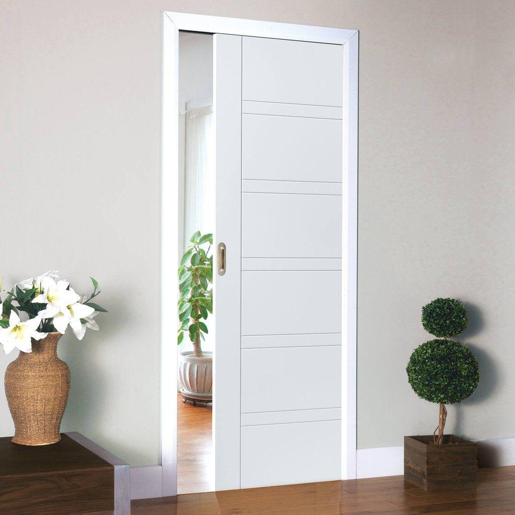 Attirant Single Pocket Imperial White Sliding Door System In Three Size Widths.  #pocketdoor #whitedoor #internalwhitedoor