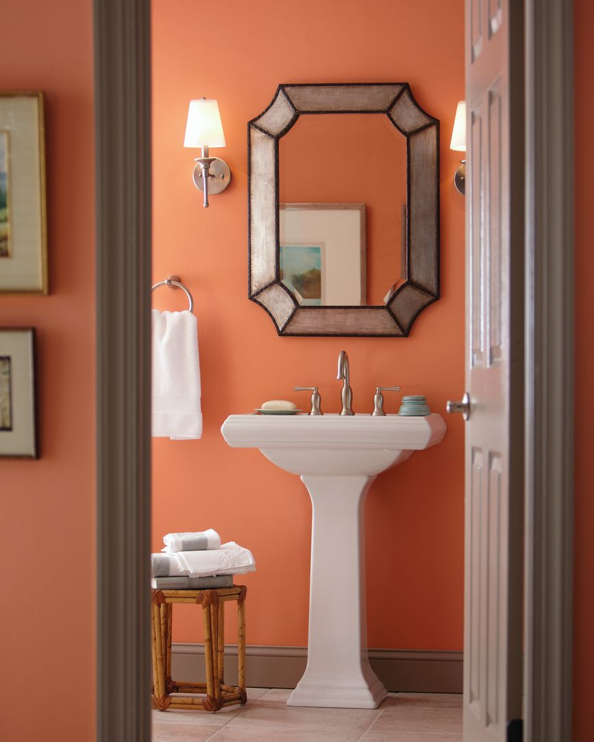 Glidden S Ripe Apricot Color Warms Up Your Bathroom Decor Bathroom Decor Colors Orange Bathrooms Orange Bathroom Decor