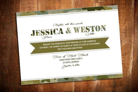 Diy Printable Army Camo Wedding Invite Set By Sweetpeadivinedesign 35 00