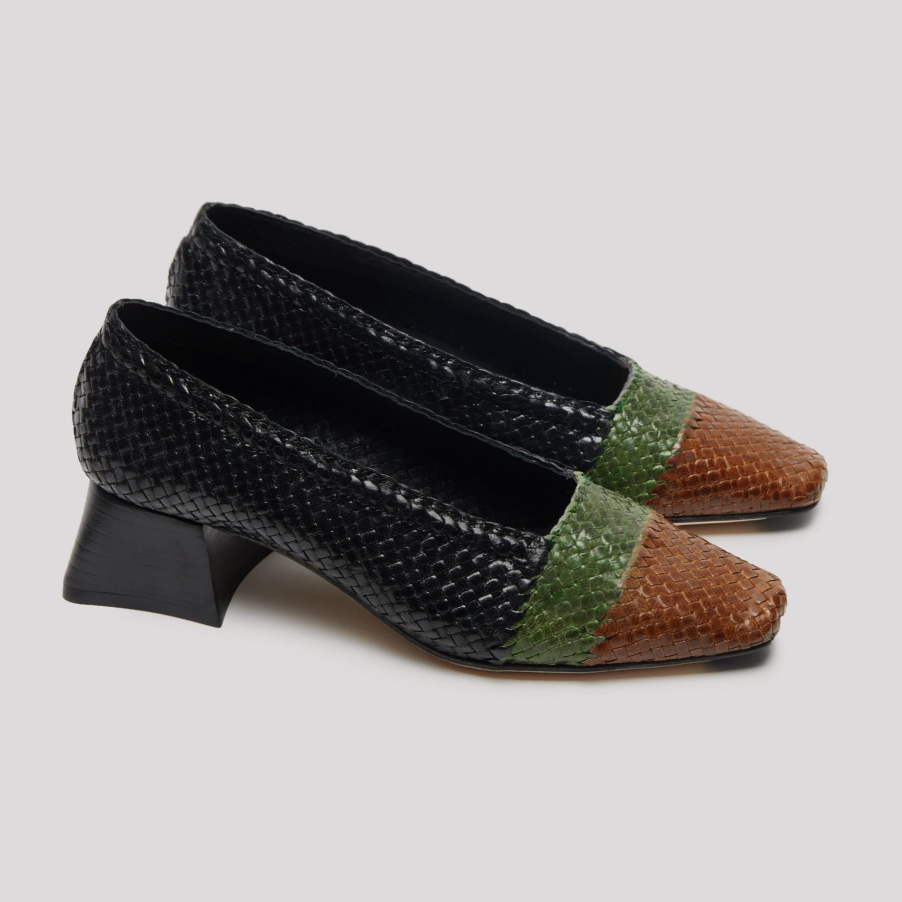 56a2834978893 Eivissa Black Mix Heels Leather Heels, Calf Leather, Soft Leather, Long  Shirt Dress