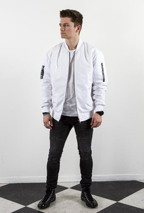 8983f2ec3 This is a white nylon bomber jacket for men. | MENS BLACK SATIN ...