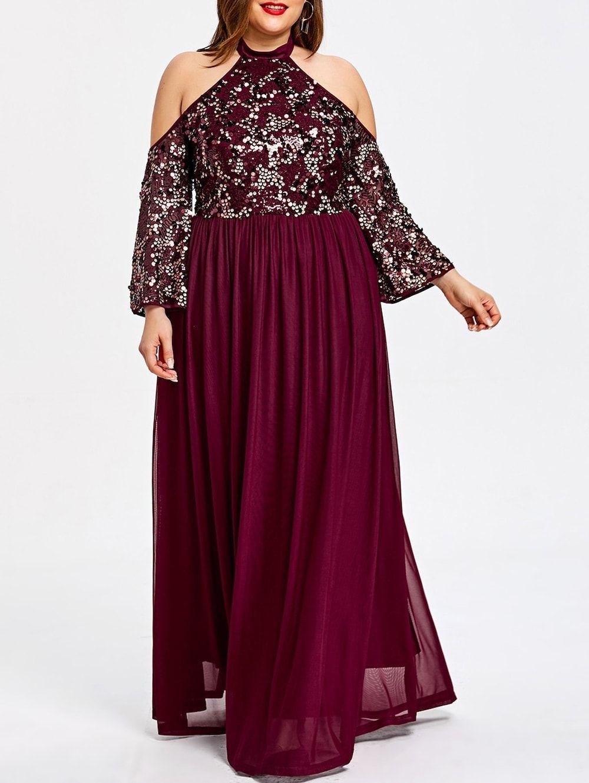 Plus Size Sequined Cold Shoulder Prom Dress Plus size