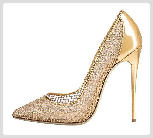 8c911d097106a9 MONICOCO Übergröße Glitzernde Damenschuhe Spitze Zehen Stiletto Pumps für  Party Hochzeit Mesh Gold 46 EU - Damen pumps ( Partner-Link)